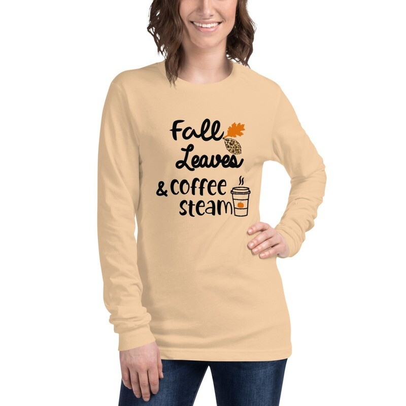 'Fall Leaves and Coffee Steam' Women's Long Sleeve Fall Tee