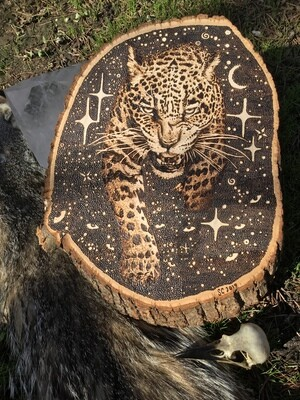 Jaguar wood burnt art