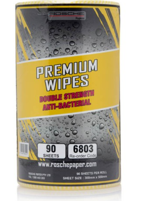 YELLOW PREMIUM WIPES 90 SHEETS ROLL