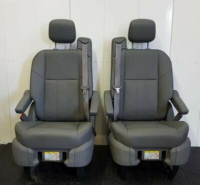 Pair of Leather Swivel Seats - Grey