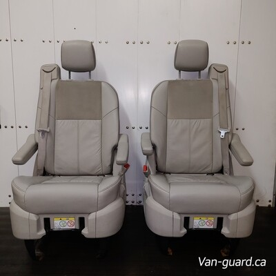 Pair of Leather Swivel Seats - Tan