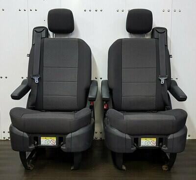 Pair of Swivel Seats - Black Cloth