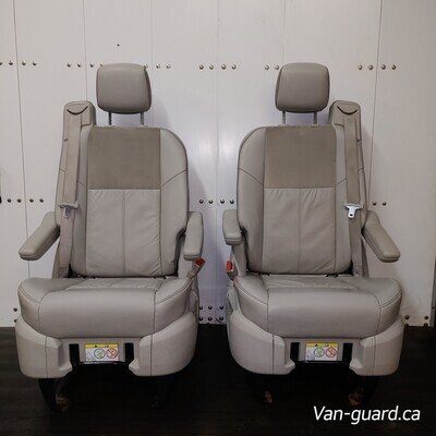 Pair of Leather Swivel Seats - Tan