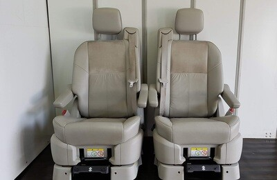 Pair of Swivel Seats - Grey Leather