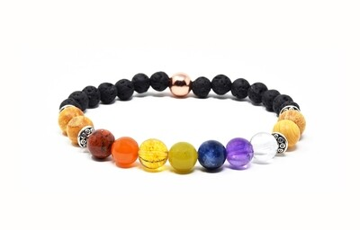 Reiki Charged 7 Chakra Gemstone Bracelet With Palo Santo, Lava Stone & Pure Copper Accents (Fits wrists up to 6.75
