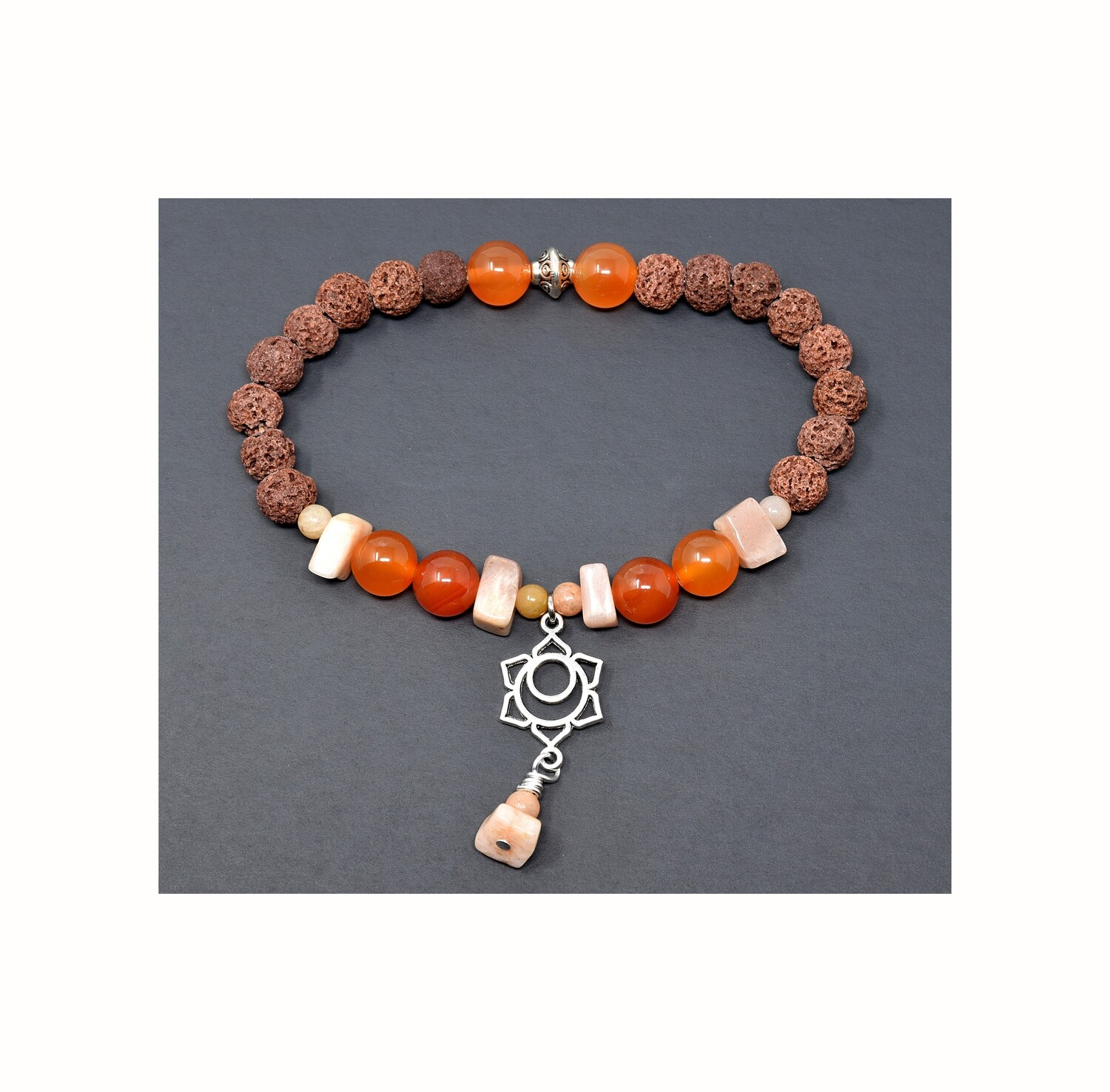 "Reiki Charged Svadhisthana (Sacral Chakra) Charm Gemstone & Lava Stone Bracelet (Fits wrists up to 6.75"")"