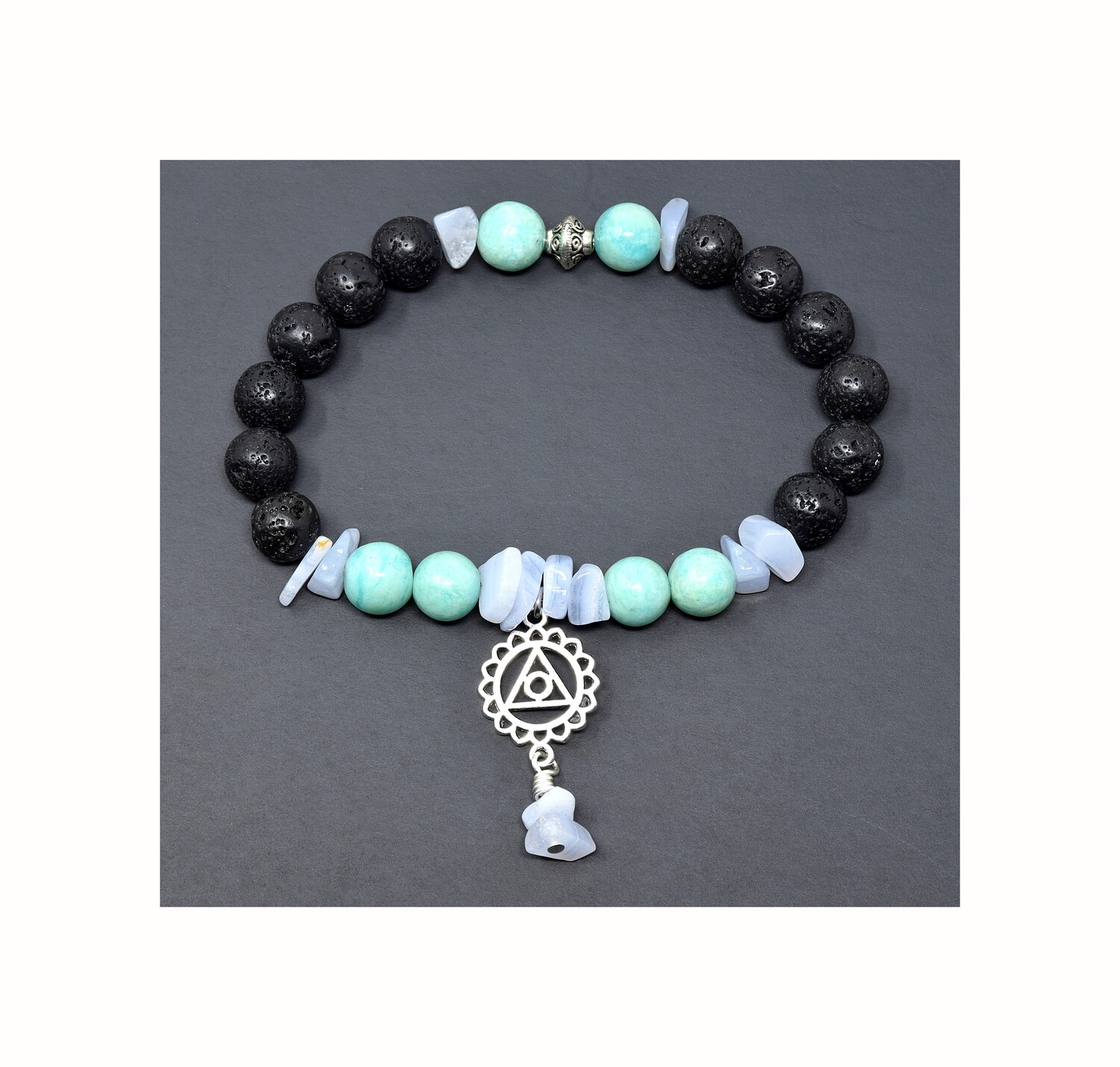 "Reiki Charged Vishudda (Throat Chakra) Charm Gemstone & Lava Stone Bracelet (Fits wrists up to 6.75"")"