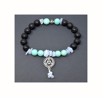Reiki Charged Vishudda (Throat Chakra) Charm Gemstone & Lava Stone Bracelet (Fits wrists up to 6.75