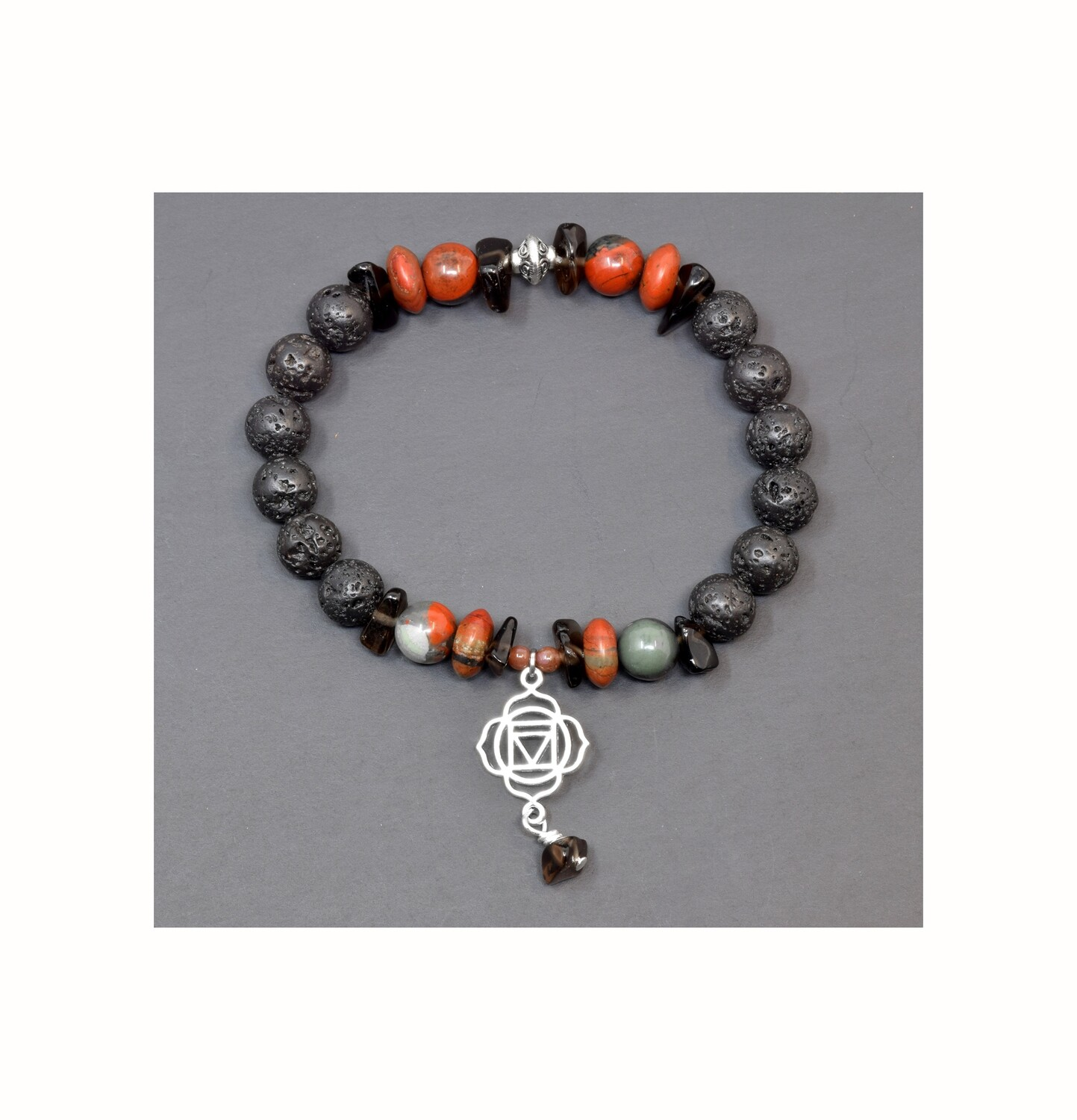 "Reiki Charged Muladhara (Root Chakra) Charm Gemstone & Lava Stone Bracelet (Fits wrists up to 6.75"")"
