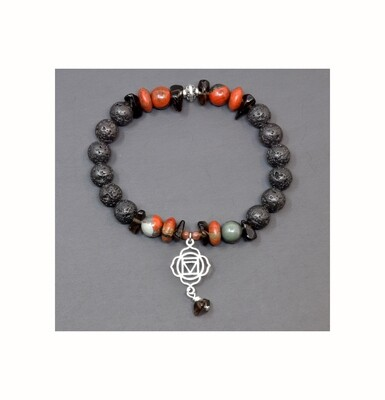 Reiki Charged Muladhara (Root Chakra) Charm Gemstone & Lava Stone Bracelet (Fits wrists up to 6.75