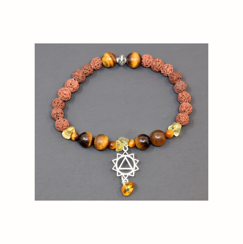 """Reiki Charged Manipura (Solar Plexus)  Charm Gemstone & Lava Stone Bracelet (Fits wrists up to 6.75"""")"""