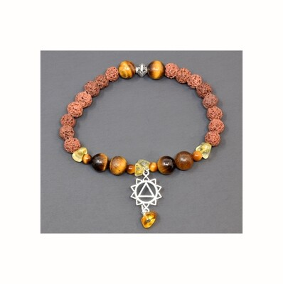Reiki Charged Manipura (Solar Plexus)  Charm Gemstone & Lava Stone Bracelet (Fits wrists up to 6.75
