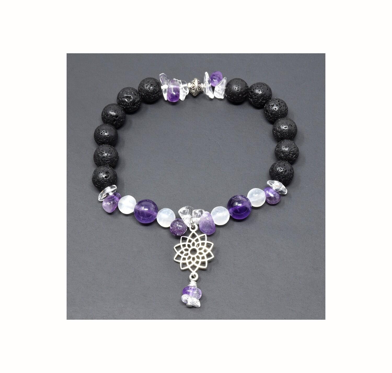 "Reiki Charged Sahasrara (Crown Chakra) Charm Gemstone & Lava Stone Bracelet (Fits wrists up to 6.75"")"