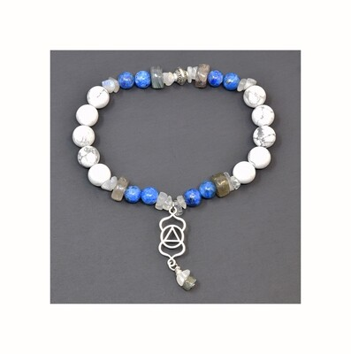 Reiki Charged Ajna (Third Eye Chakra) Charm & Gemstone Bracelet (Fits wrists up to 6.75