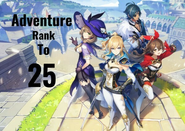 Genshin Impact Adventure Rank Leveling to 25