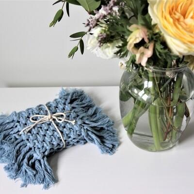 Macrame Coasters (Set of 4) - Periwinkle Blue