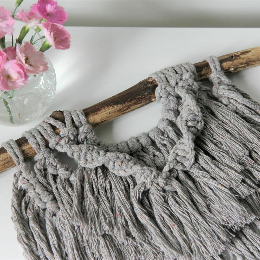 Pewter Waterfall with a Twist Mini Macrame Wall Hanging