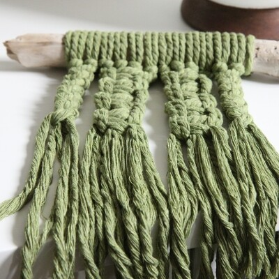 Avocado Cable Knit Twist - Mini Wall Hanging