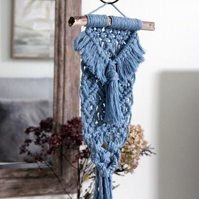 Blueberry Heart Mini Macrame Wall Hanging