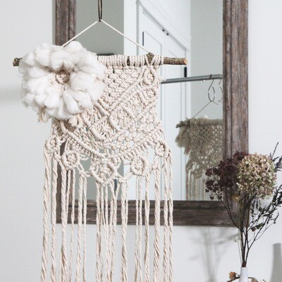 Cottonwood Flower Macrame Wall Hanging
