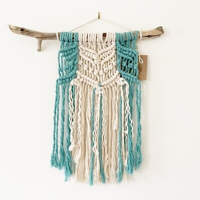 Teal and Cream Macrame Wall Hanging