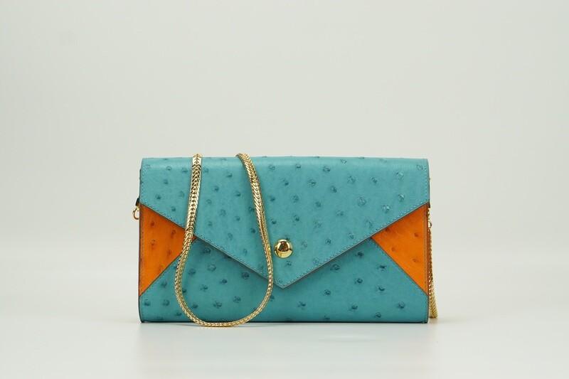 Envelope Ostrich Turquoise/ Orange