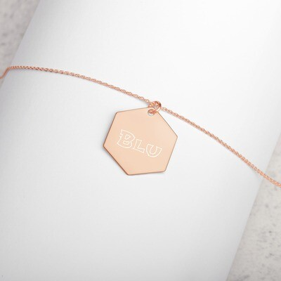 BLU Engraved Silver Hexagon Necklace