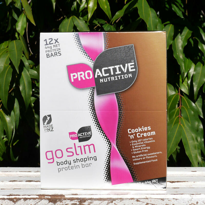 Low carb, protein Go Slim Cookies and Cream bars X 12
