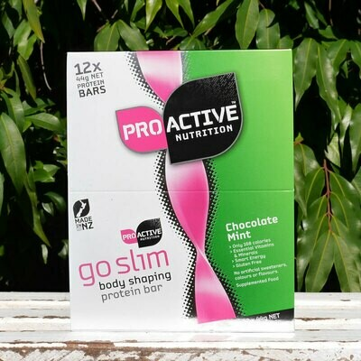 Low carb, protein Go Slim Choc Mint bars in a box of 12