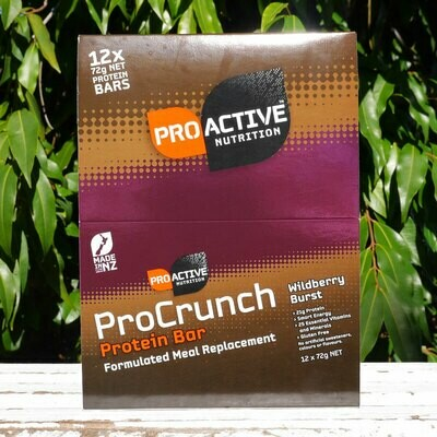 Low carb, protein Pro-crunch Wildberry bars, box of 12