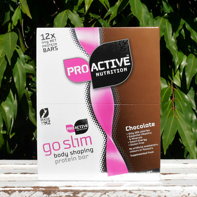 Low carb, protein Go Slim Chocolate bars in a box of 12