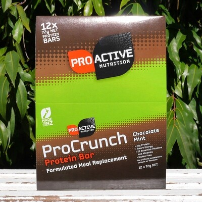 Low carb, protein Pro-crunch Choc Mint bars, box of 12