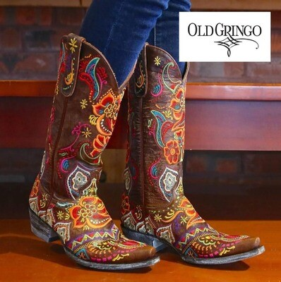 OLD GRINGO - OLIVIA BRASS/MULTI COLORED EMBROIDERY