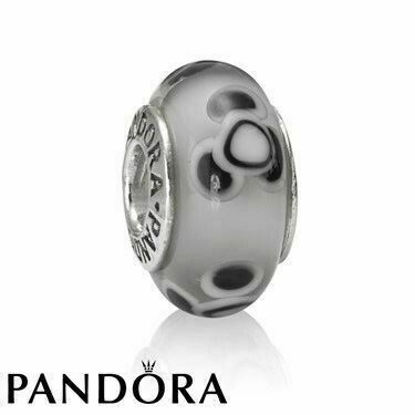 PANDORA - SET OF 2 MURANO GLASS BEADS - WHITE/BLACK