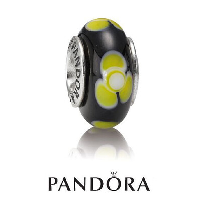 PANDORA - SET OF 2 MURANO GLASS BEADS - BLUE/YELLOW