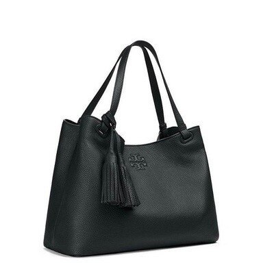 TORY BURCH - THEA, BLACK PEBBLED LEATHER TOTE