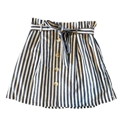 &Merci - Blue and White Striped Skirt w/ Belt