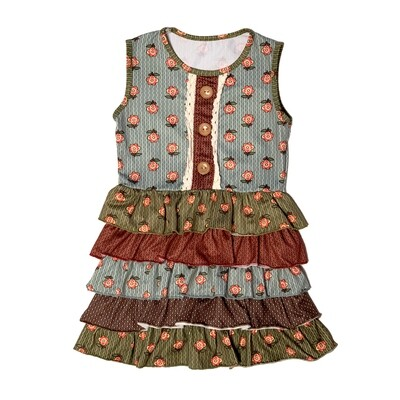 GIRLS Multicolored Tiered Ruffle Dress
