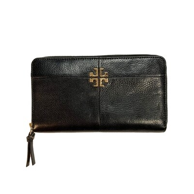TORY BURCH PEBBLED LEATHER ZIP WALLET