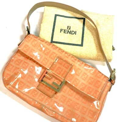 FENDI - PATENT LEATHER PEACH ZUCCA BAGUETTE