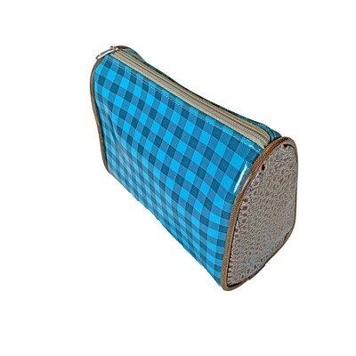 CONSUELA MAKEUP BAG - TEAL PLAID