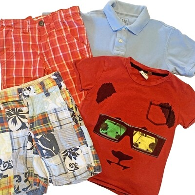 BOYS [5-6] SHIRT & SHORTS BUNDLE - 4 piece set - Camden