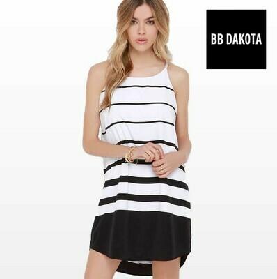 BB DAKOTA AMELIA BLACK & WHITE STRIPED SHIFT DRESS