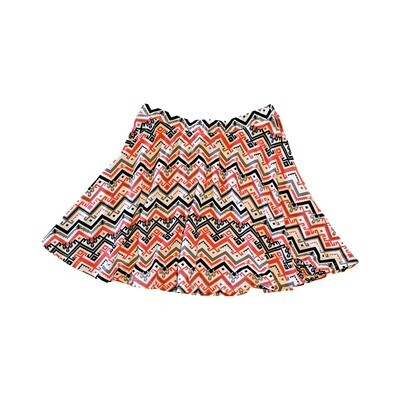 Red/White/Black Chevron Printed Circle Skirt