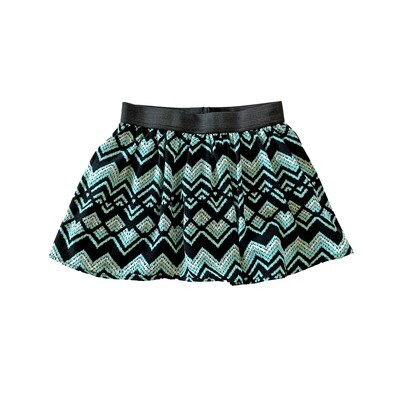 Teal & Black Chevron Skort