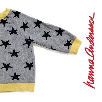 HANNA ANDERSSON - GRAY/YELLOW SWEATER W/ STARS