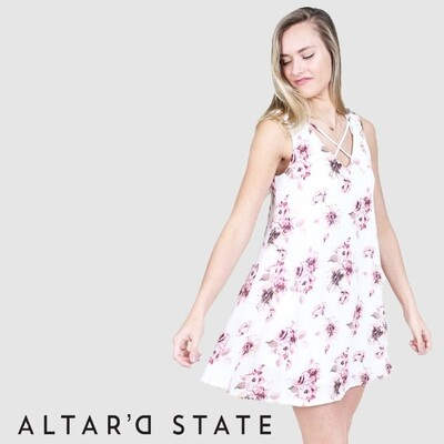 ALTAR'S STATE - FEISTY FLORAL WHITE DRESS
