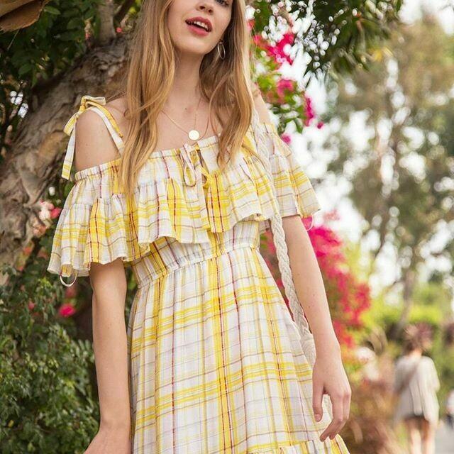 LOVERICHE - YELLOW CHECK RUFFLE DRESS