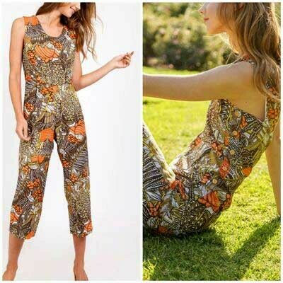 Mo:Vint Flora 70s Style Paloma Cropped Jumpsuit