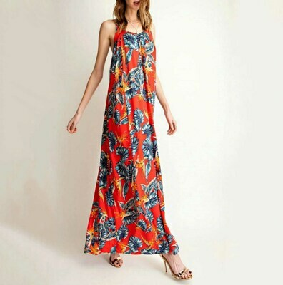 Easel Bird of Paradise Red Maxi Dress